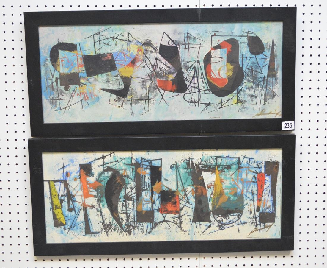 Pair of Modern Paintings signed illegibly, 12-1/2 x 32