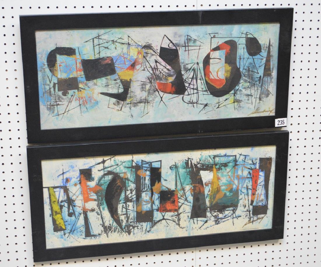 Pair of Modern Paintings signed illegibly, 12-1/2 x 32 - 2