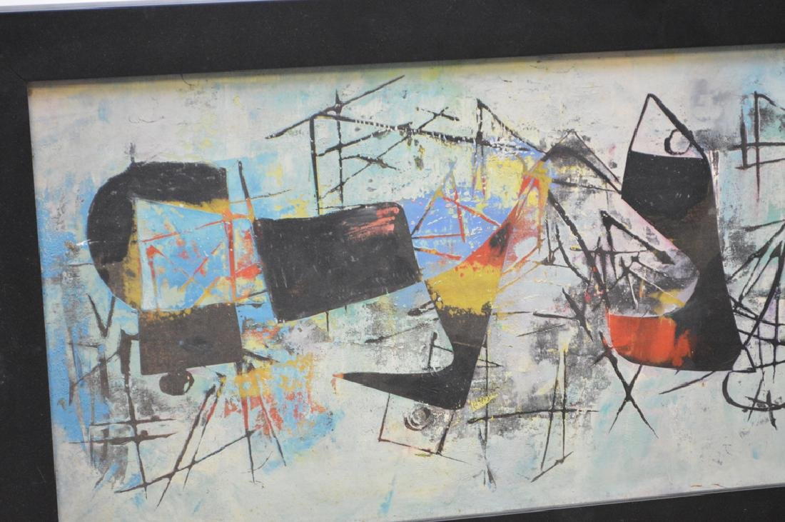 Pair of Modern Paintings signed illegibly, 12-1/2 x 32 - 3