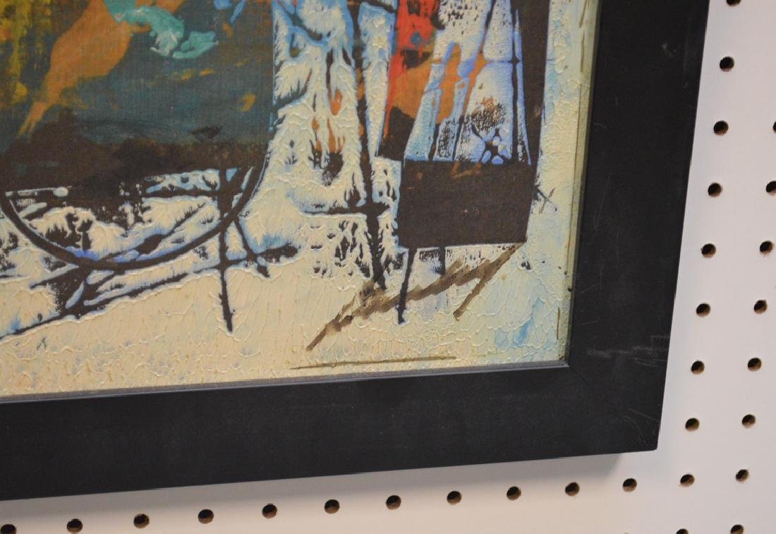Pair of Modern Paintings signed illegibly, 12-1/2 x 32 - 5