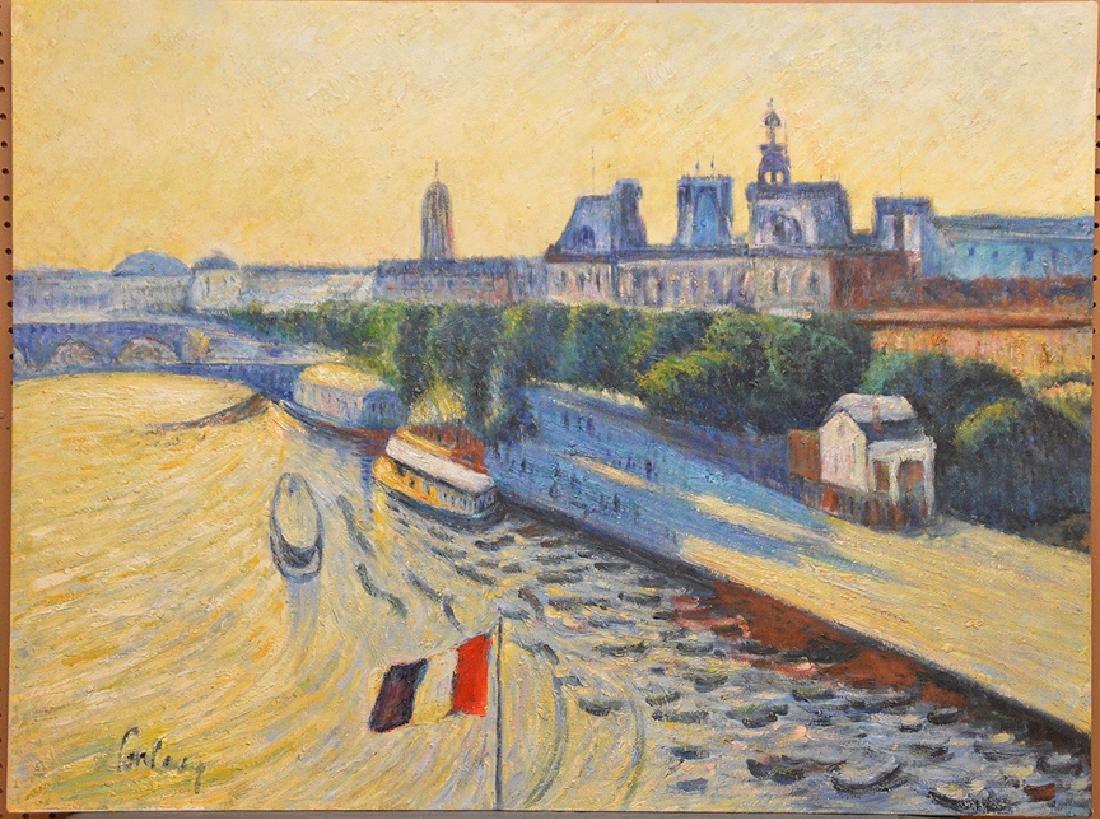 Philip Corley (America b. 1944) oil on canvas, Le Seine