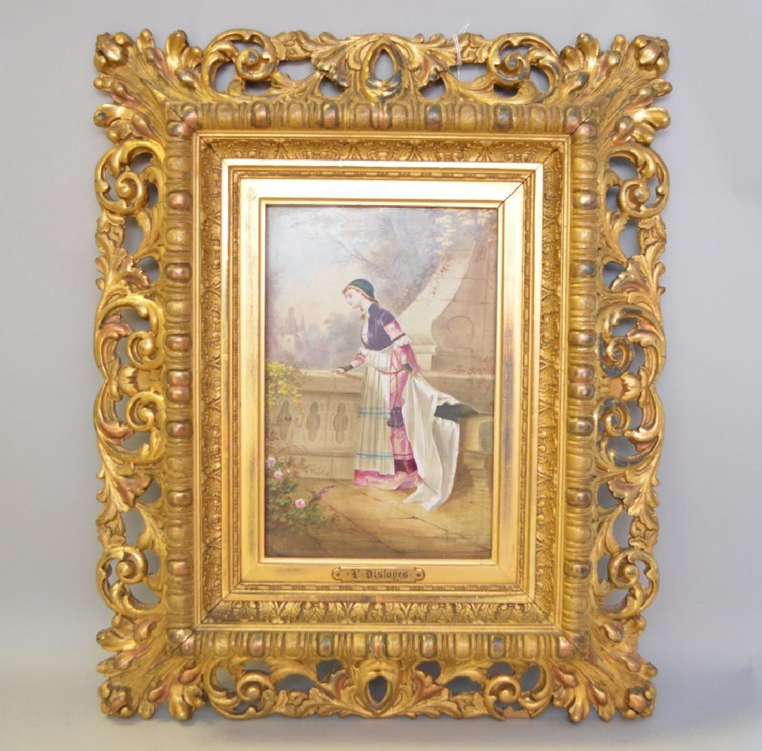 P. Disloyes signed porcelain plaque, lady on Balcony;