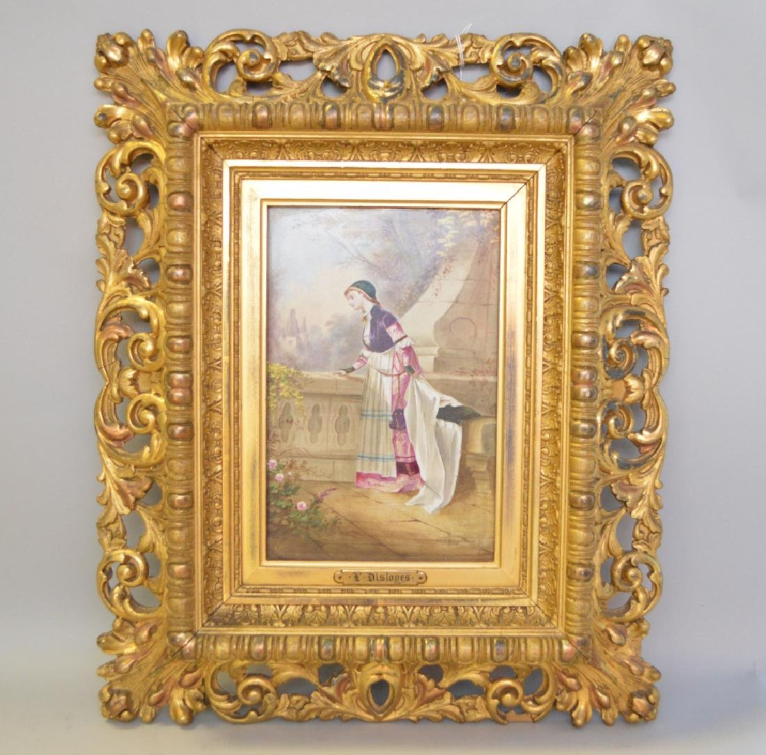 P. Disloyes signed porcelain plaque, lady on Balcony;
