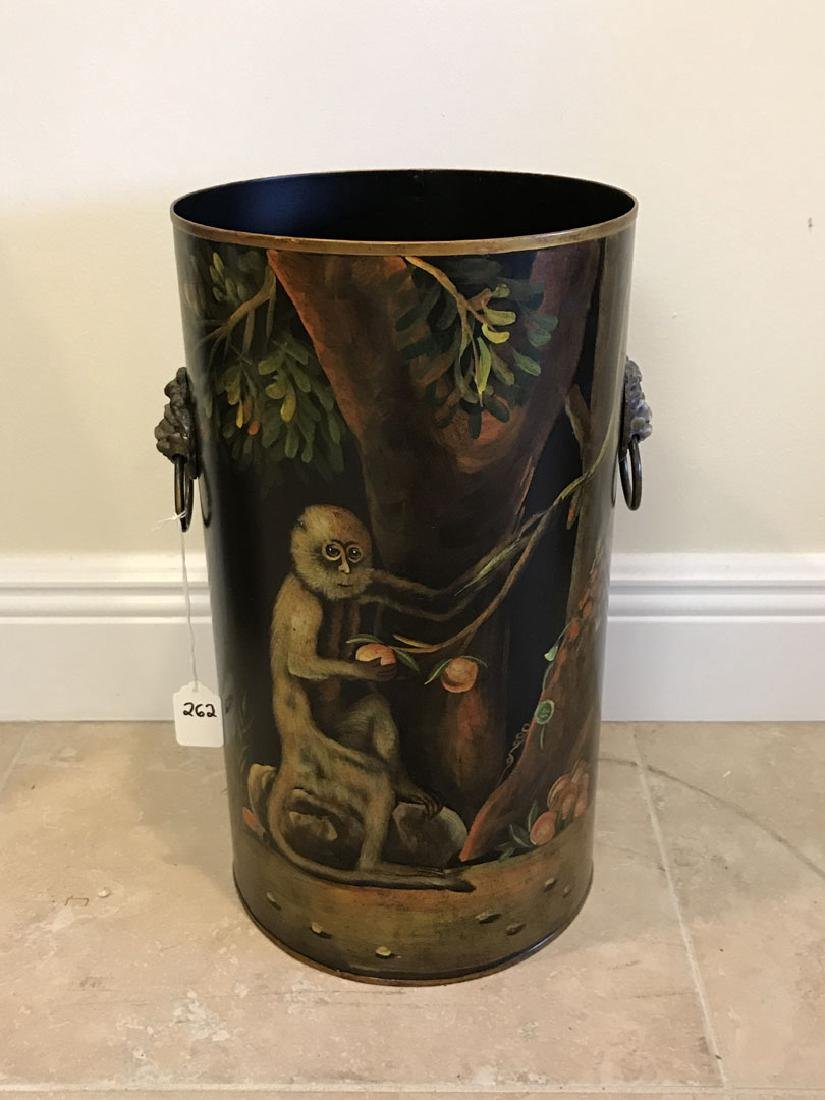 Tole umbrella stand with painted monkey scene, 16h x