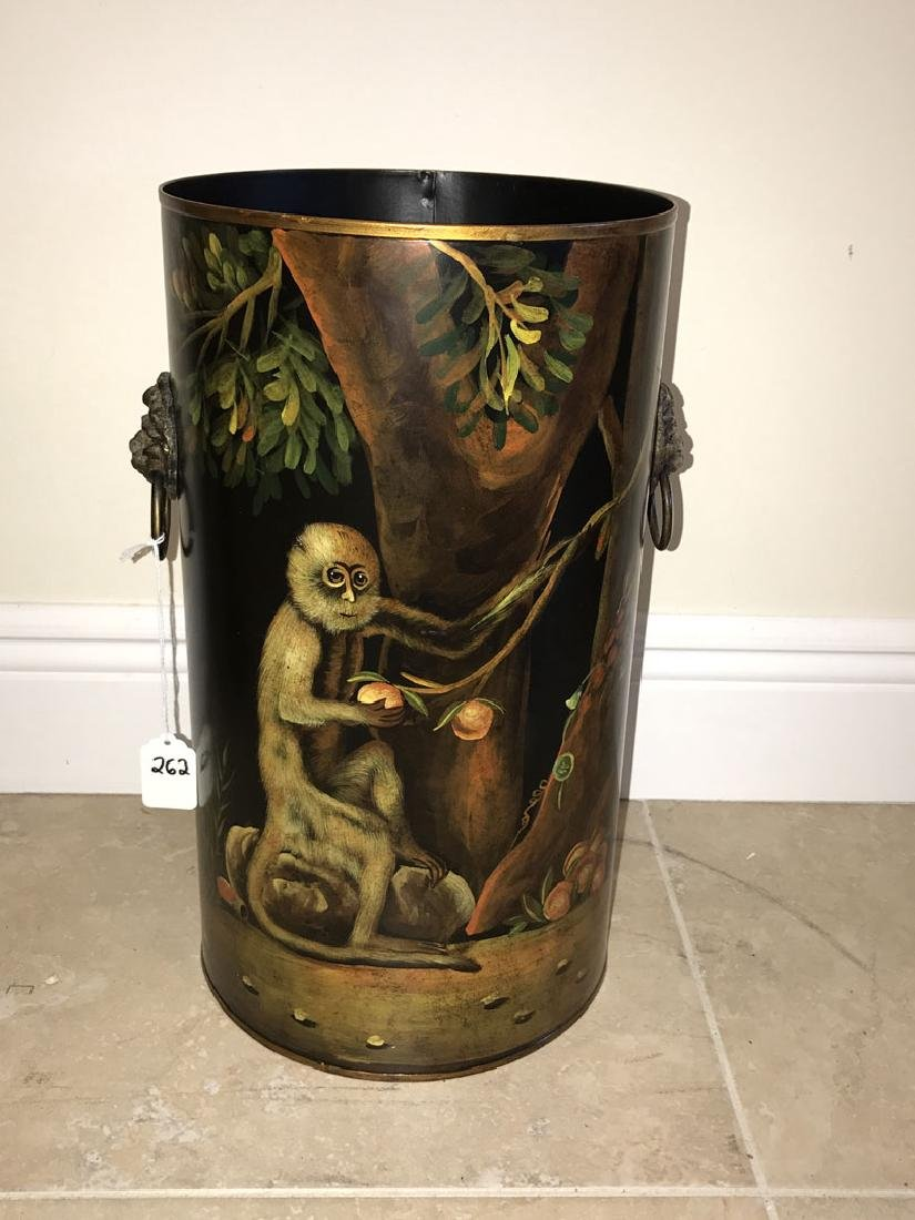 Tole umbrella stand with painted monkey scene, 16h x - 2