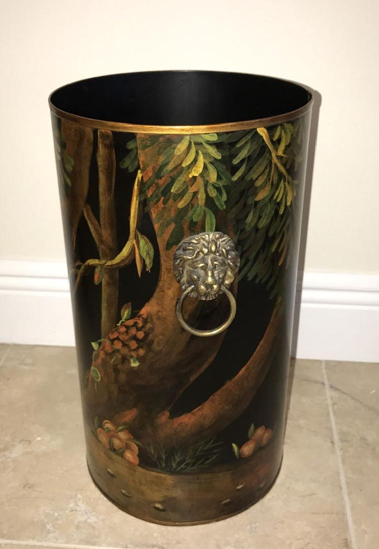Tole umbrella stand with painted monkey scene, 16h x - 3