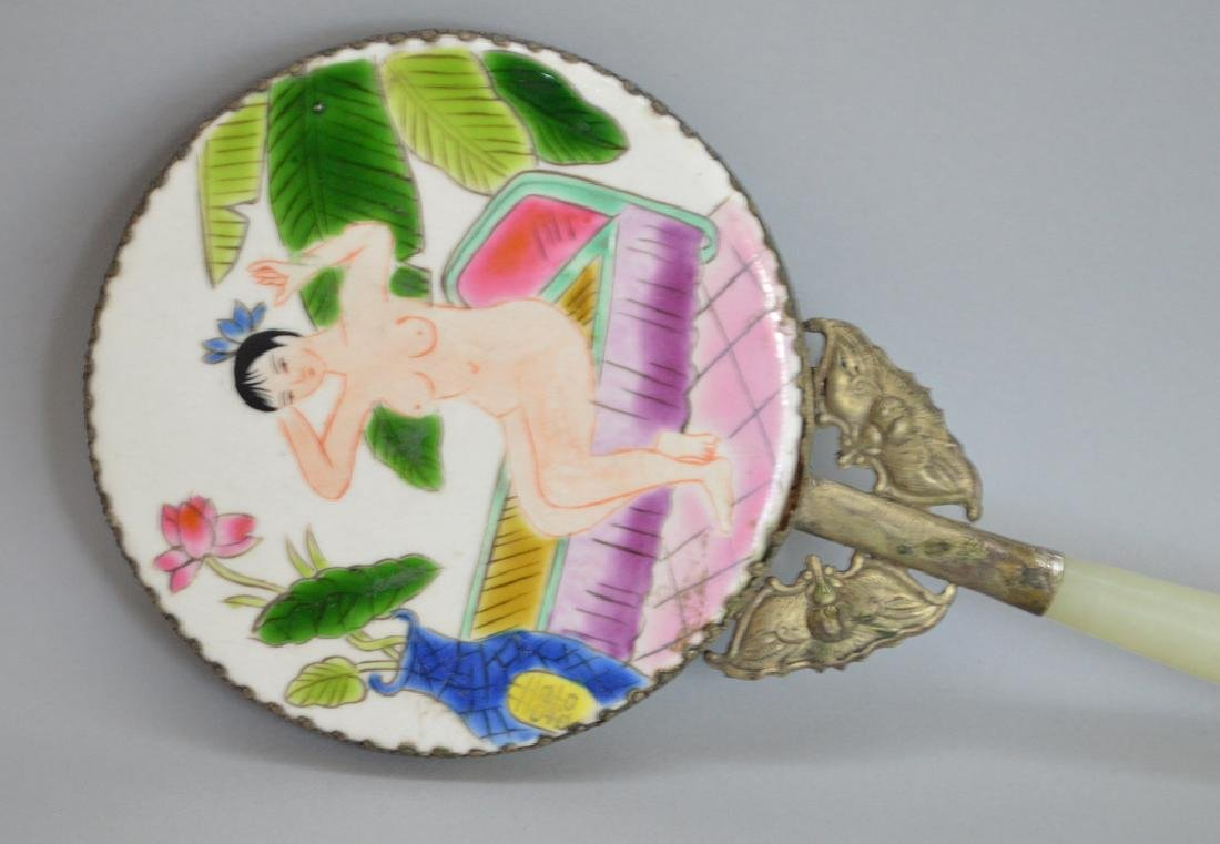 Hand painted oriental mirror with bats and jade - 2