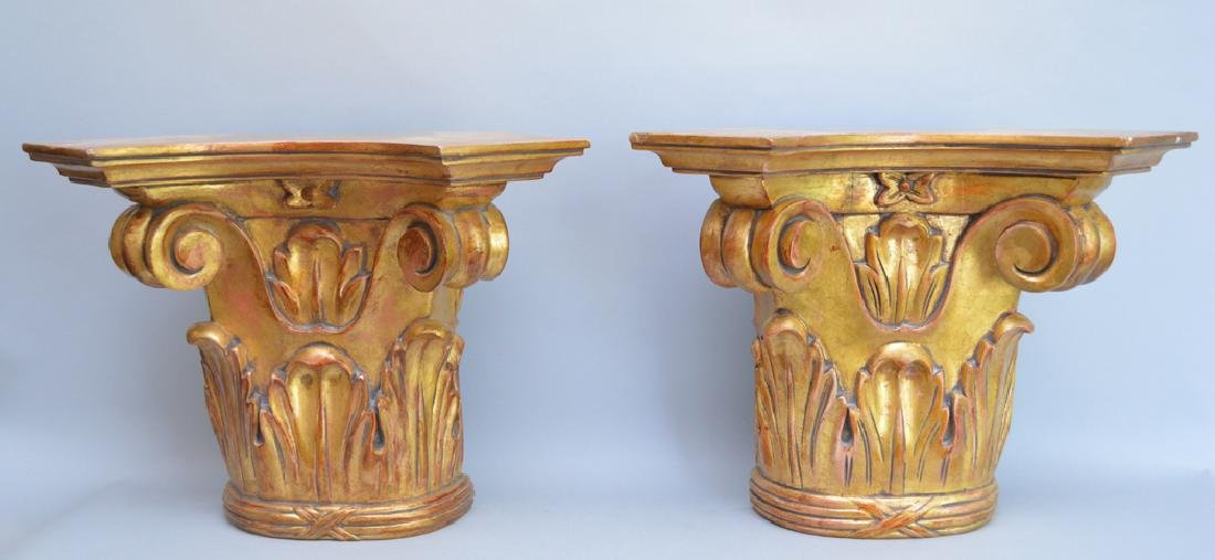 Pair of carved gilt wood brackets, 13 1/2h x 18w x 8