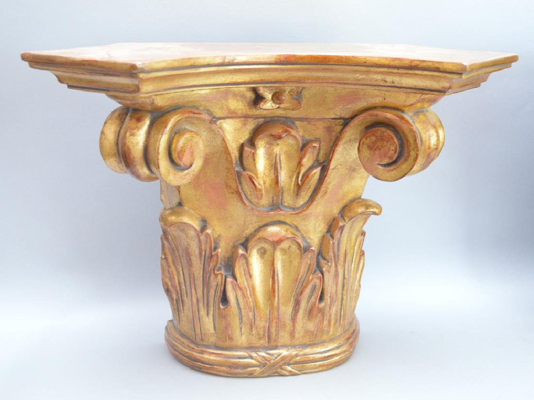 Pair of carved gilt wood brackets, 13 1/2h x 18w x 8 - 2