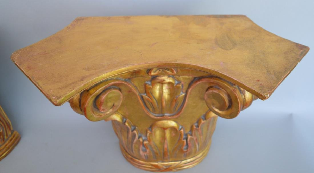 Pair of carved gilt wood brackets, 13 1/2h x 18w x 8 - 3