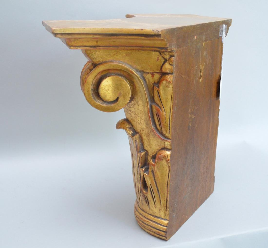 Pair of carved gilt wood brackets, 13 1/2h x 18w x 8 - 5