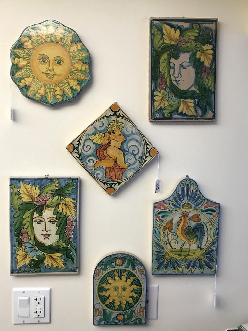 6 Painted Italian Terracotta tiles, tallest (12h) - 10