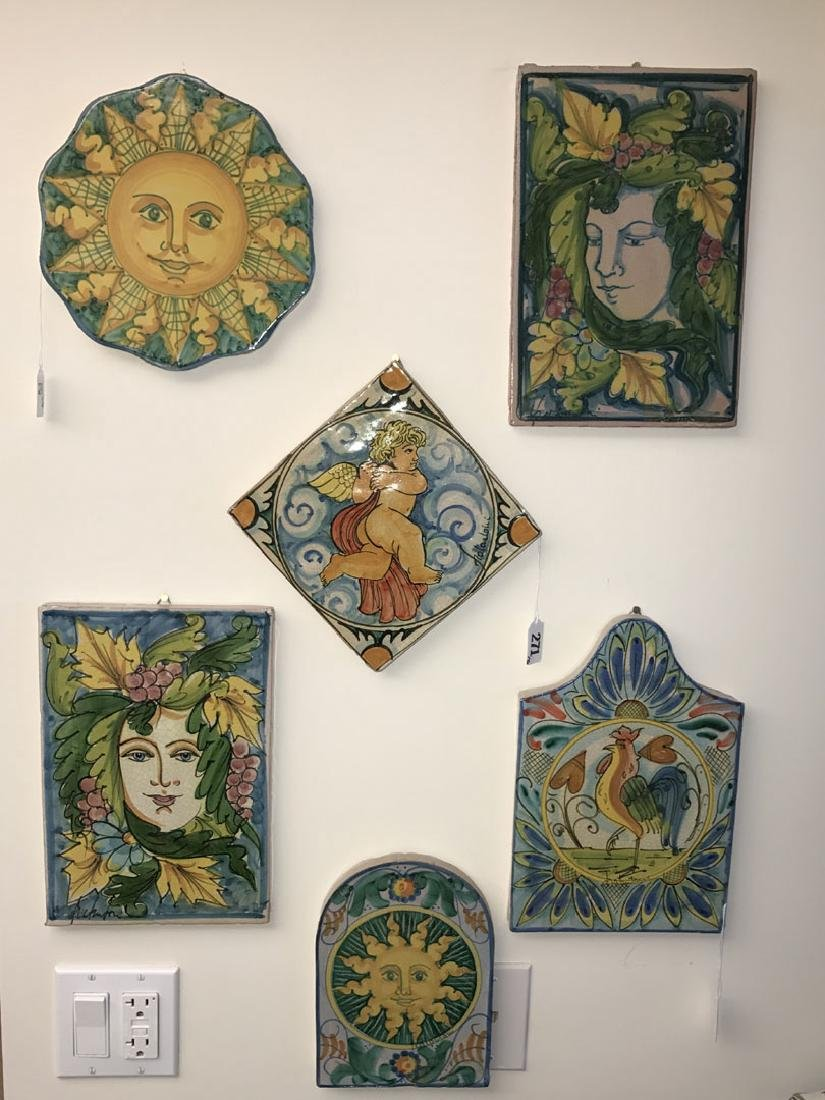 6 Painted Italian Terracotta tiles, tallest (12h)