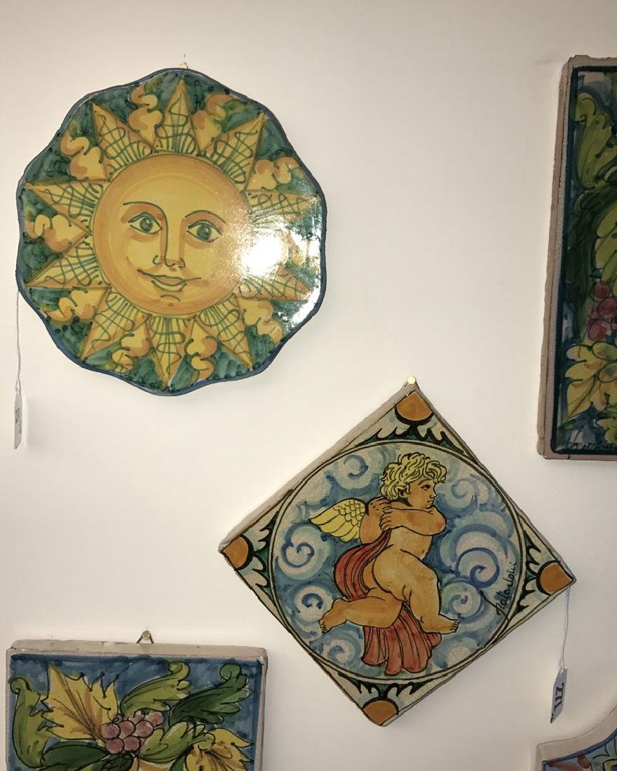 6 Painted Italian Terracotta tiles, tallest (12h) - 2