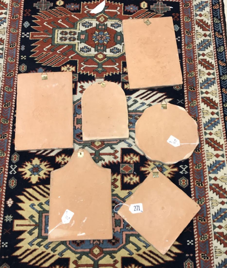 6 Painted Italian Terracotta tiles, tallest (12h) - 7