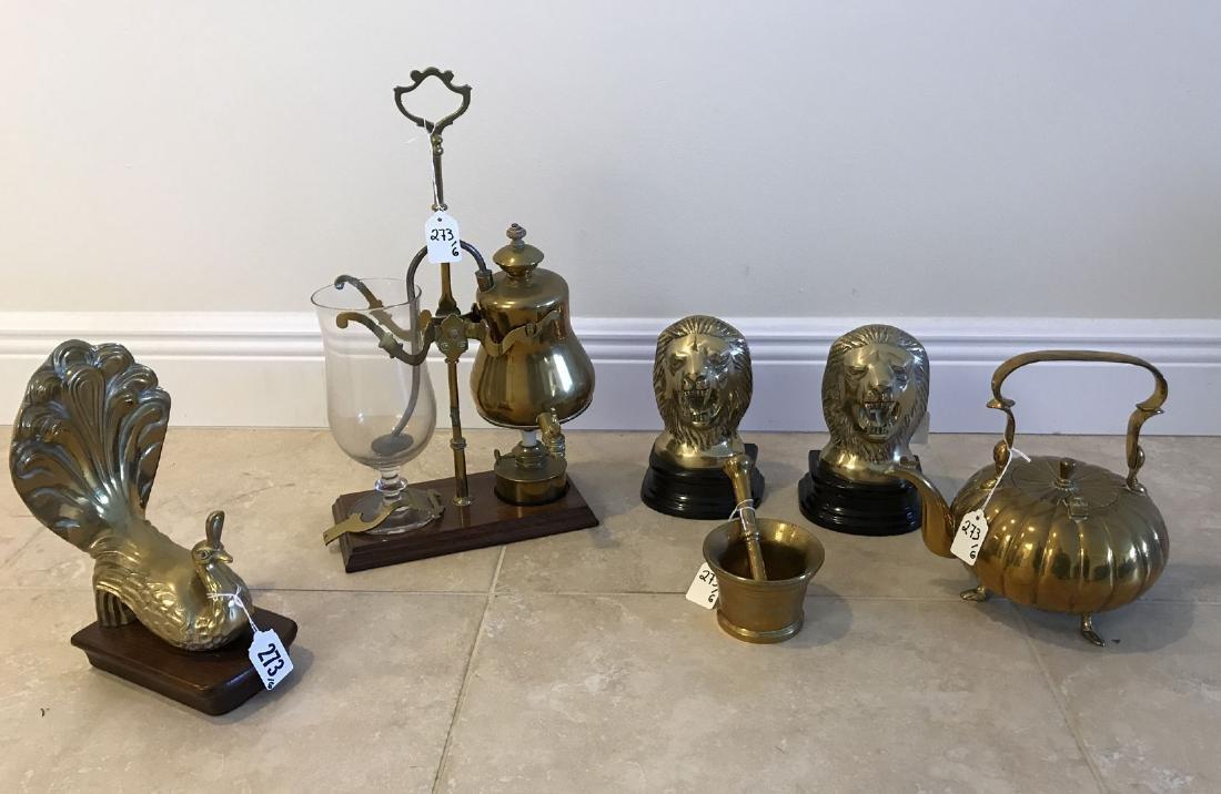 6 assorted brass articles, tallest 17h