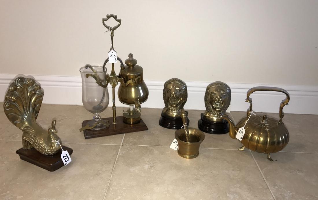 6 assorted brass articles, tallest 17h - 2