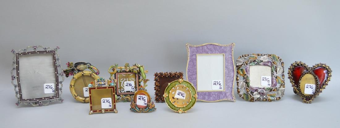 10 Jay Strongwater enamel frames, each signed, tallest