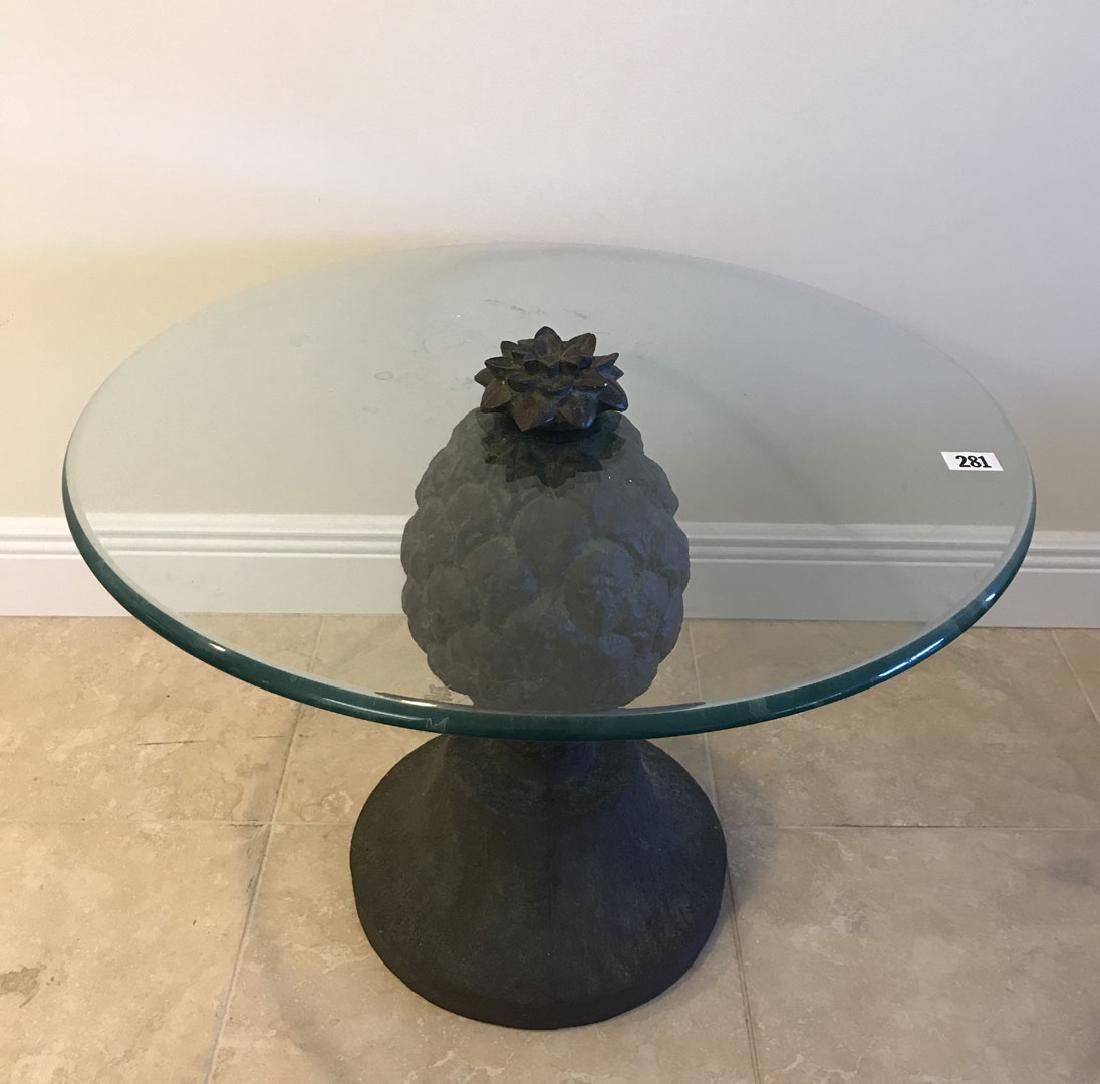 Pineapple form table with glass top, 20h x 28dia - 2