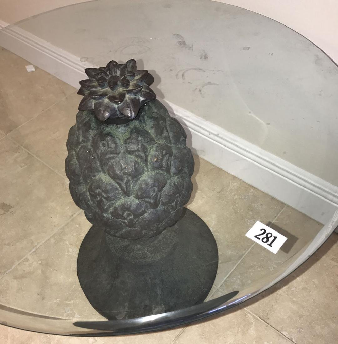 Pineapple form table with glass top, 20h x 28dia - 3