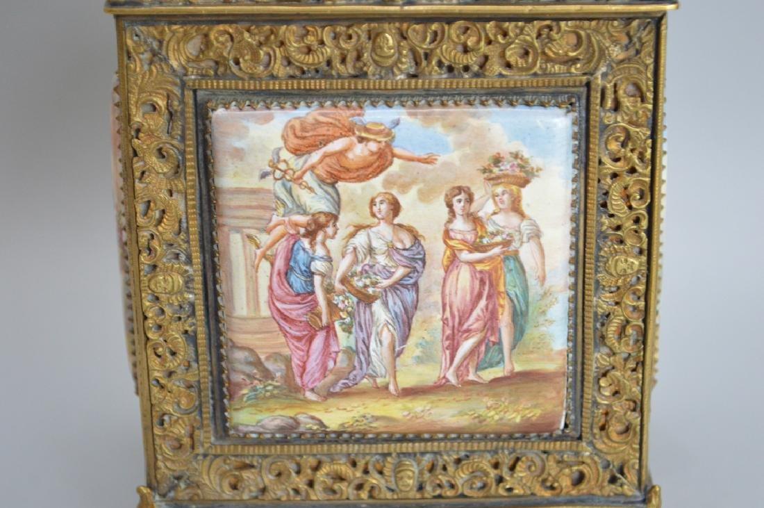 Hand Painted porcelain plaque dispenser, 7 1/8h - 7