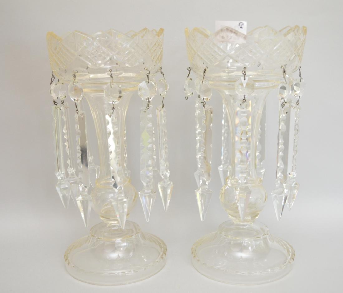 Pair clear crystal lustres, 13 1/2h