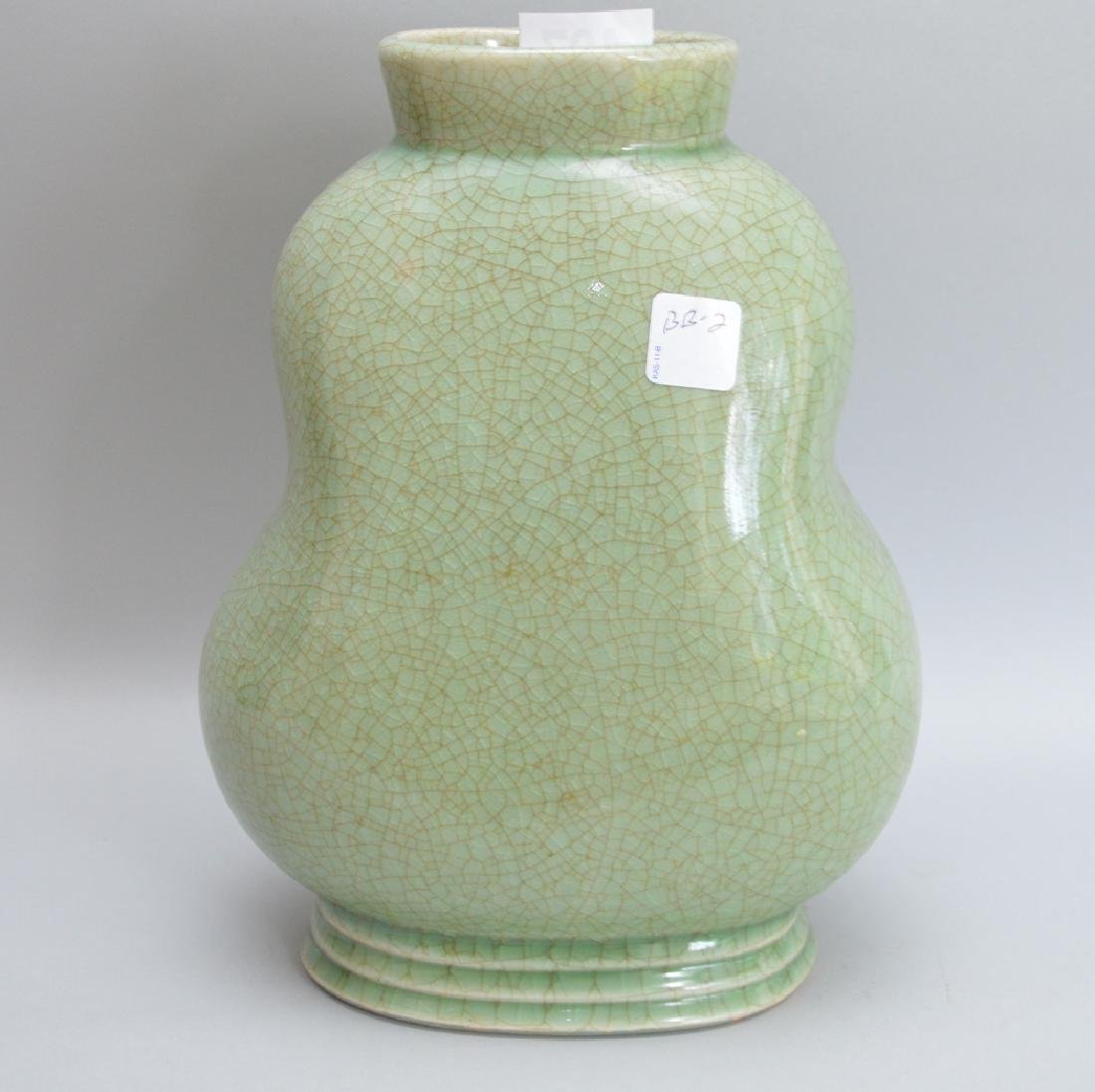 Chinese Celadon vase, early 20th c, frog and lily pad - 3