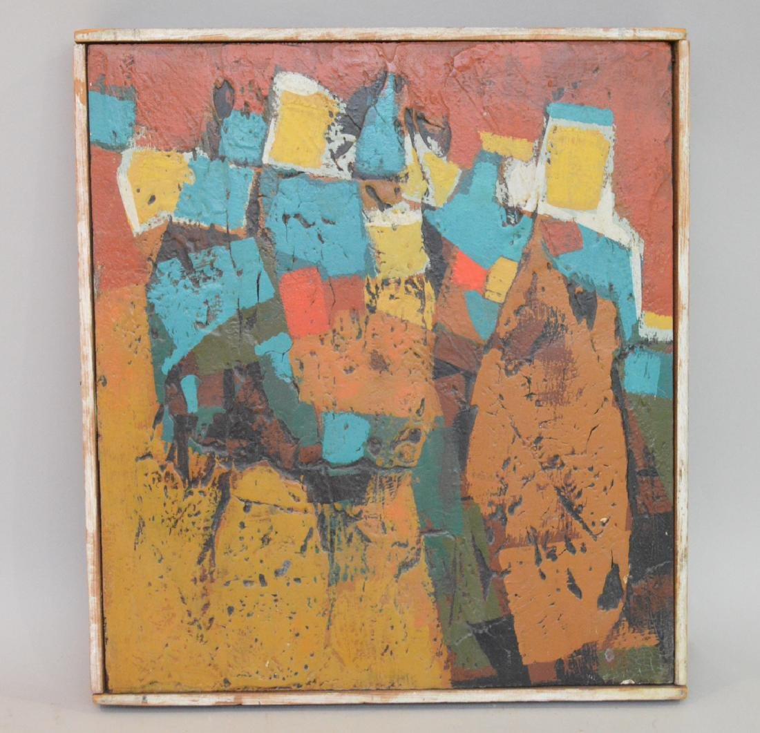 Modern Abstract oil on board, ca.1960/1970, 13 x 11-1/2
