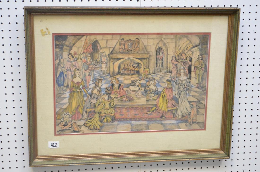 Fine detailed colored pen and ink drawing, depicting