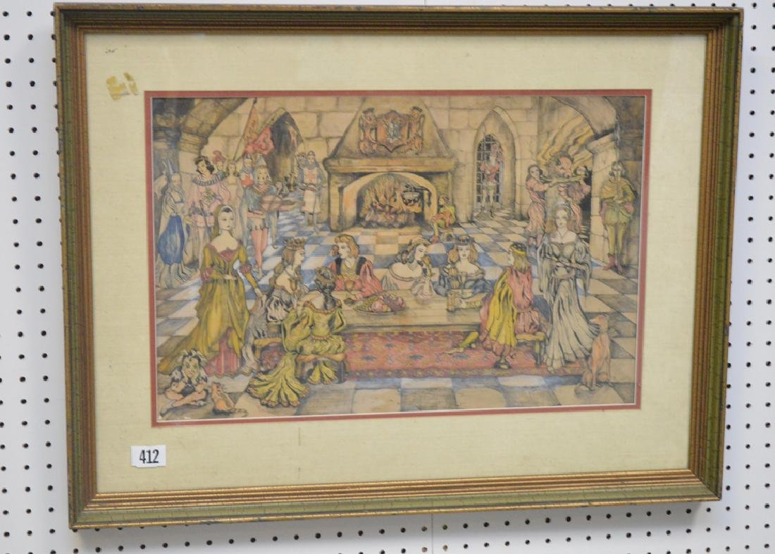 Fine detailed colored pen and ink drawing, depicting - 2