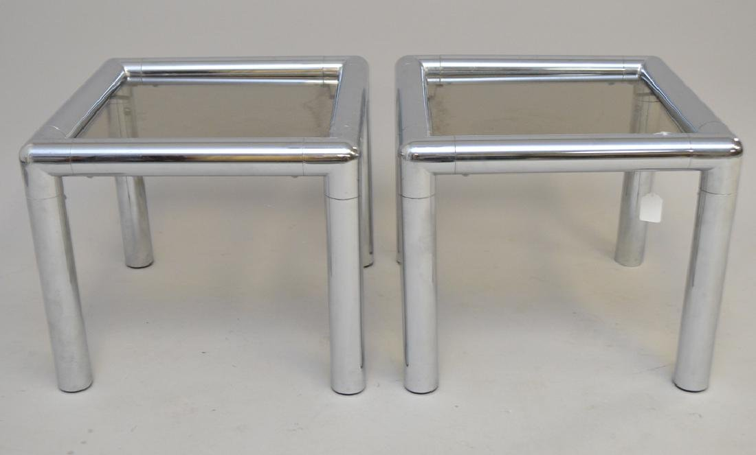 Pair John Mascheroni chrome & glass tables, circa 1970,