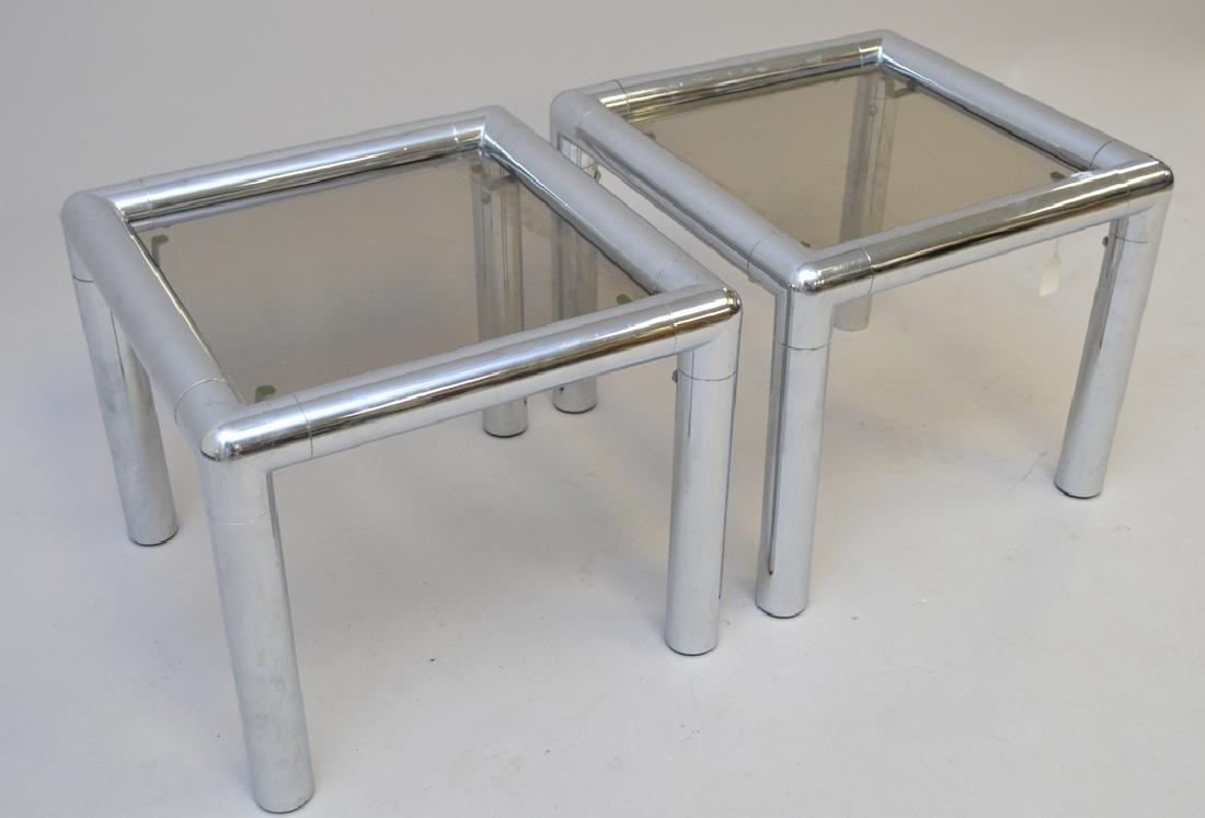 Pair John Mascheroni chrome & glass tables, circa 1970, - 2