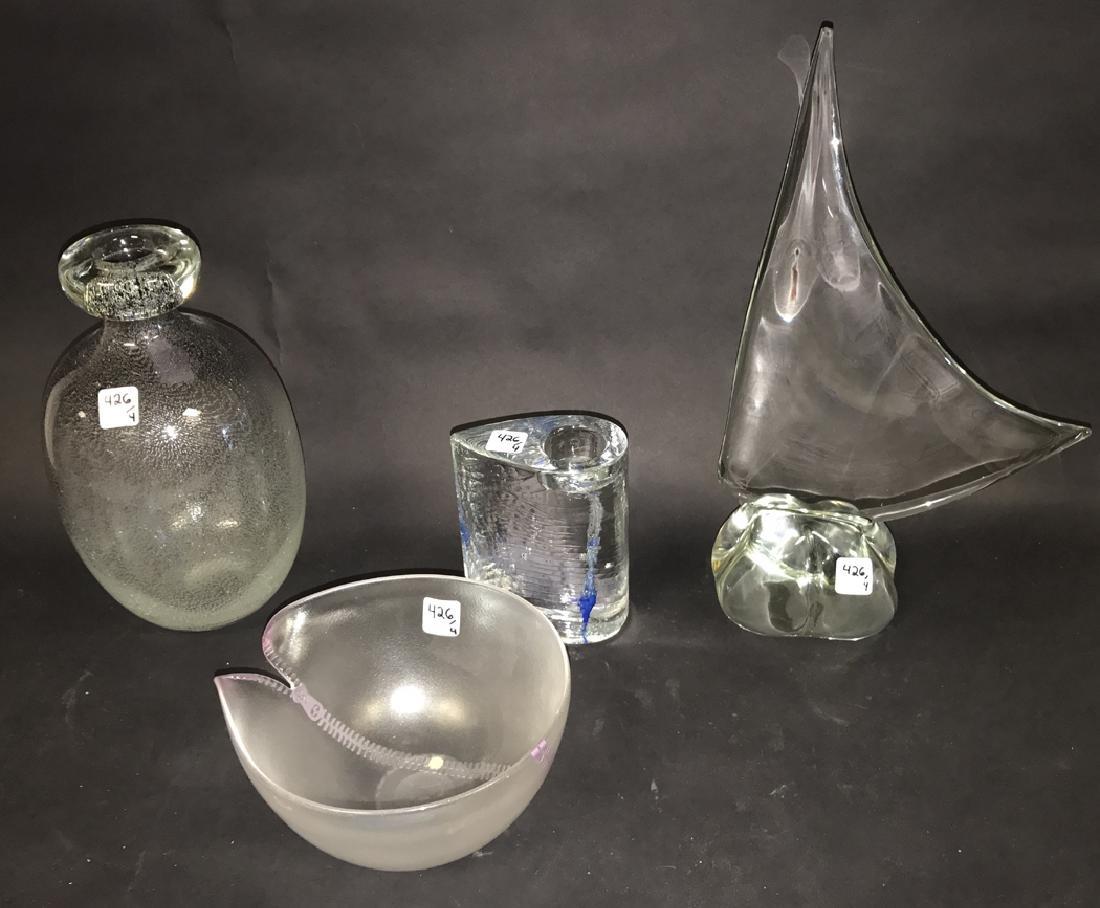 4 Piece Assorted Art Glass.  Tallest Ht. 17