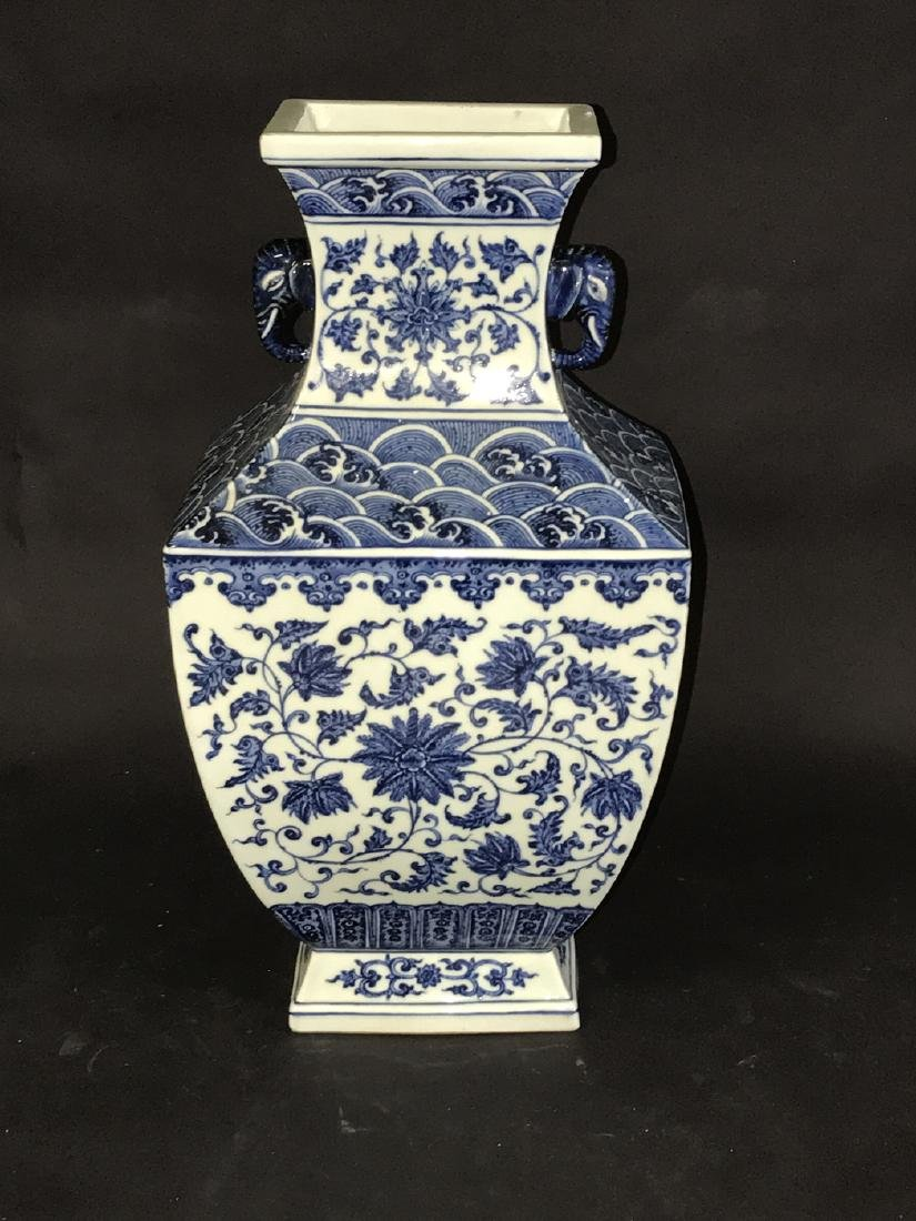 Large Chinese Porcelain Blue & White Vase with elephant
