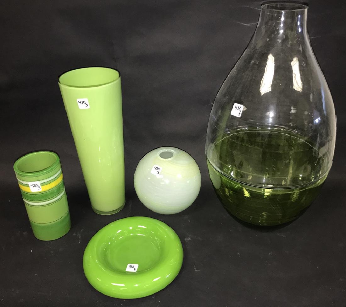 2 Pieces Green Art Pottery.  Together with 3 Pieces