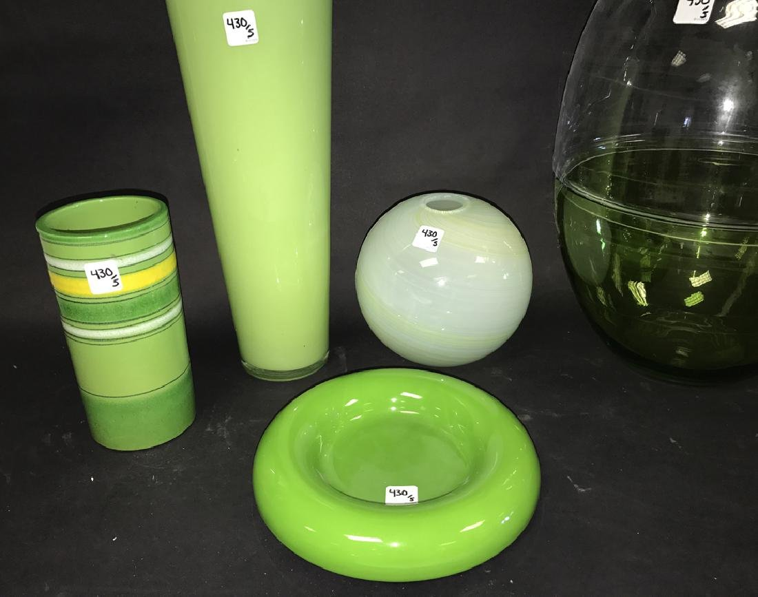 2 Pieces Green Art Pottery.  Together with 3 Pieces - 2