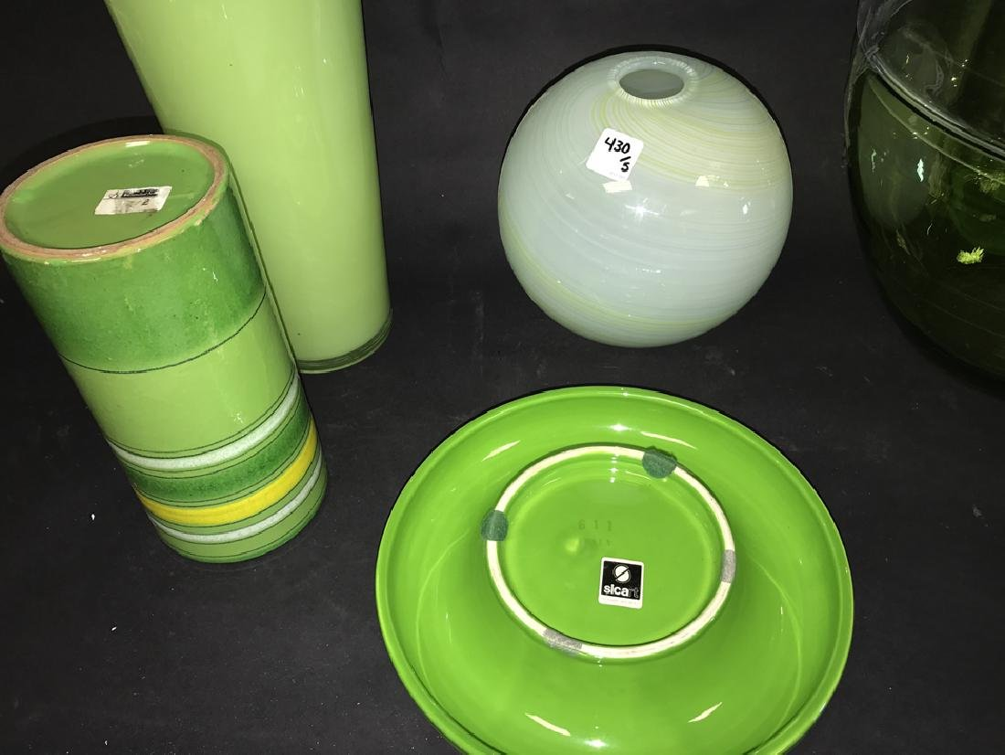 2 Pieces Green Art Pottery.  Together with 3 Pieces - 3