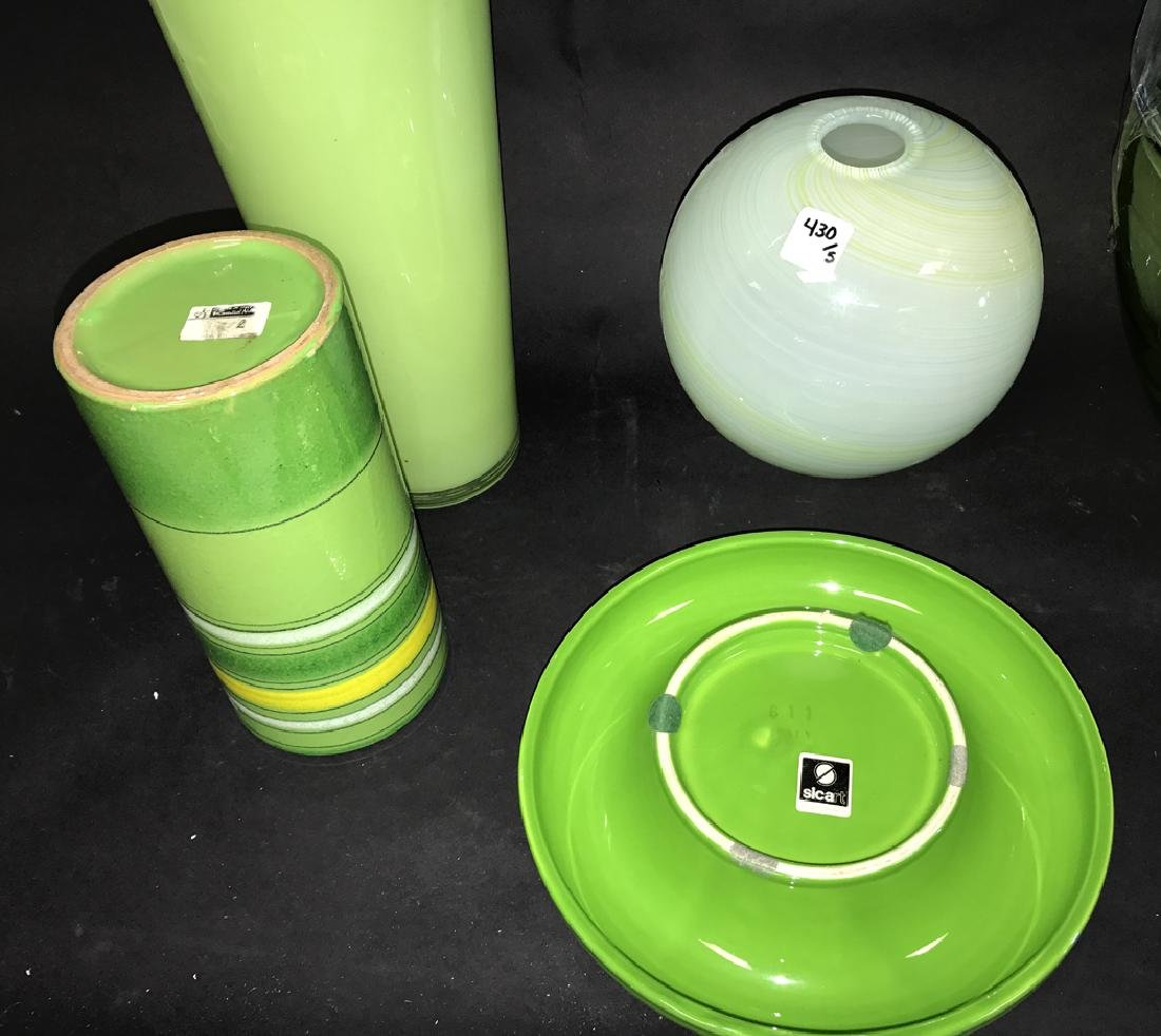 2 Pieces Green Art Pottery.  Together with 3 Pieces - 4