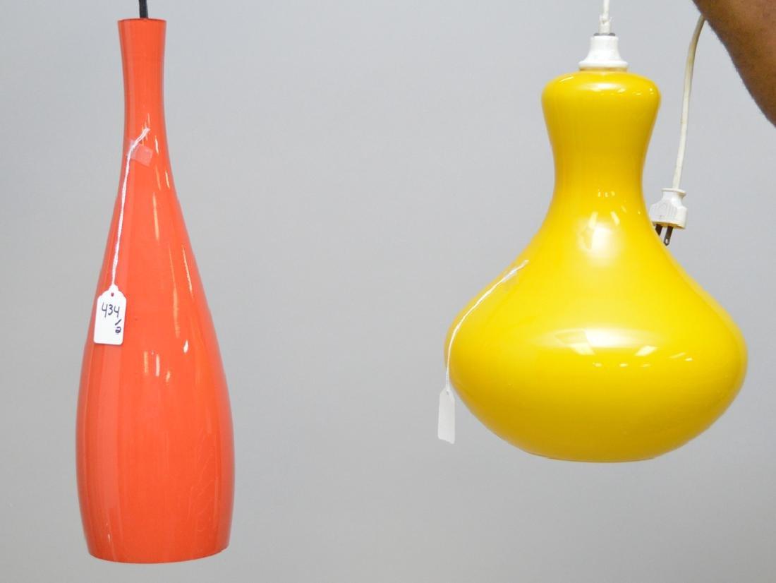 2 Scandinavian glass pendant fixtures, yellow (12h x 9