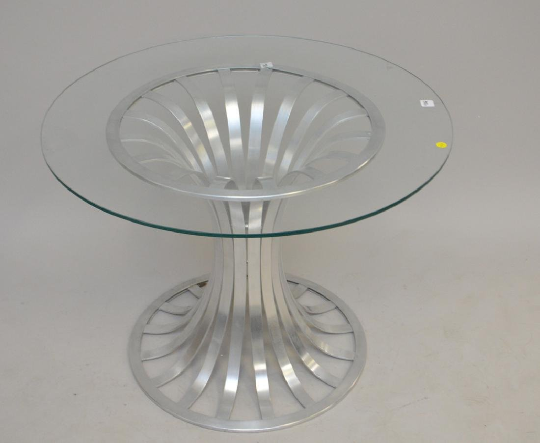 Russell Woodard Aluminum table with glass top (chip),