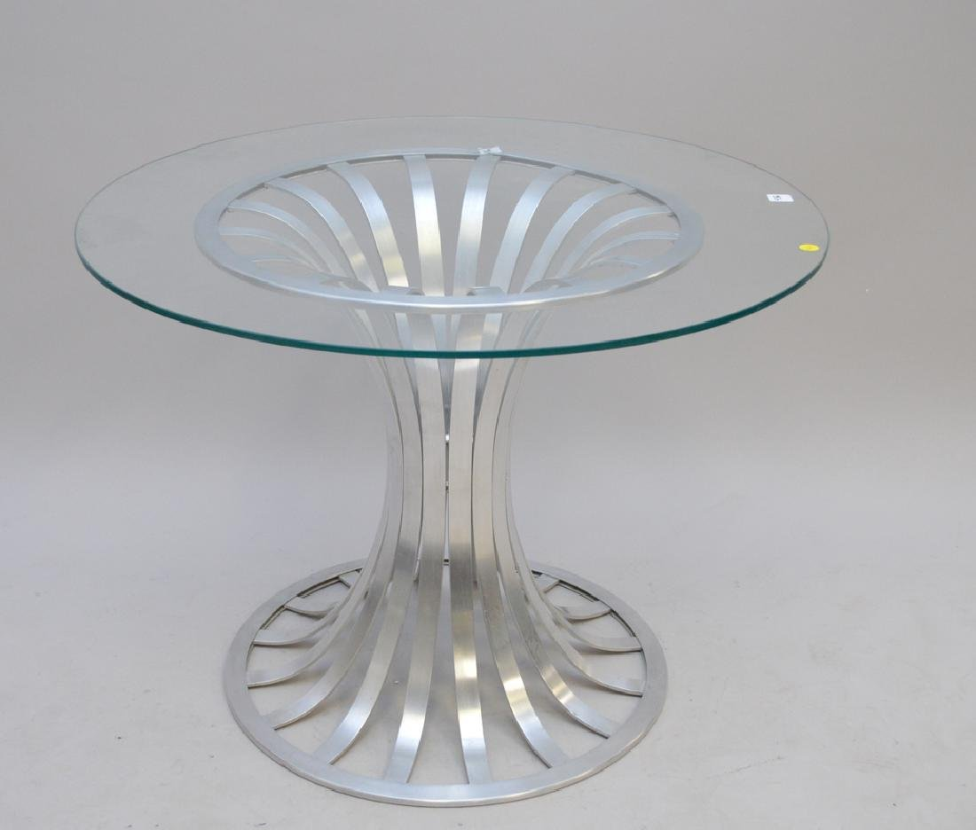 Russell Woodard Aluminum table with glass top (chip), - 2