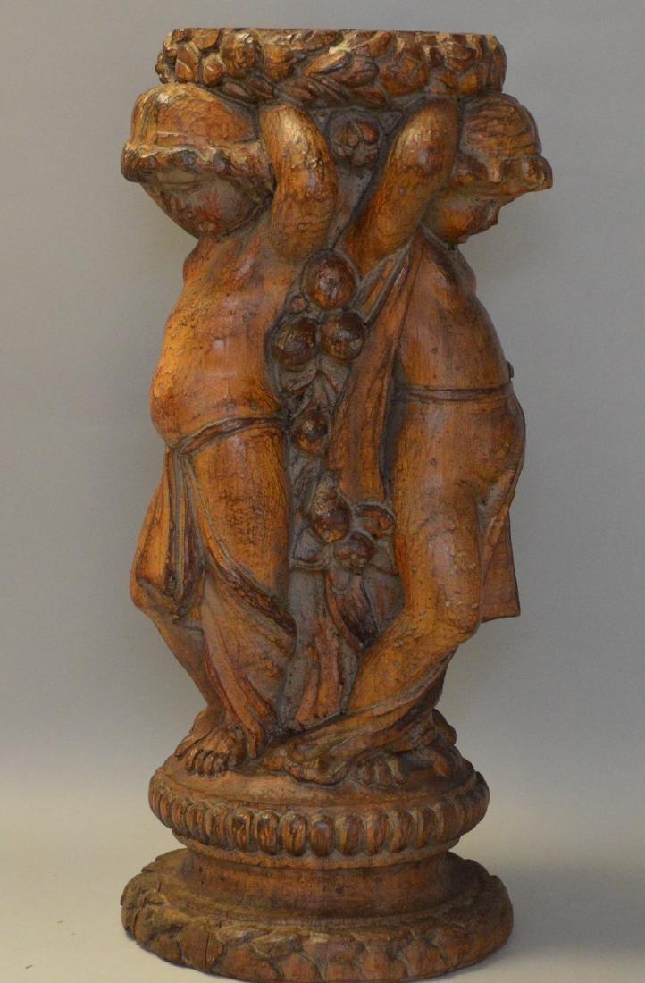 Puttis carved wood pedestal, 18h
