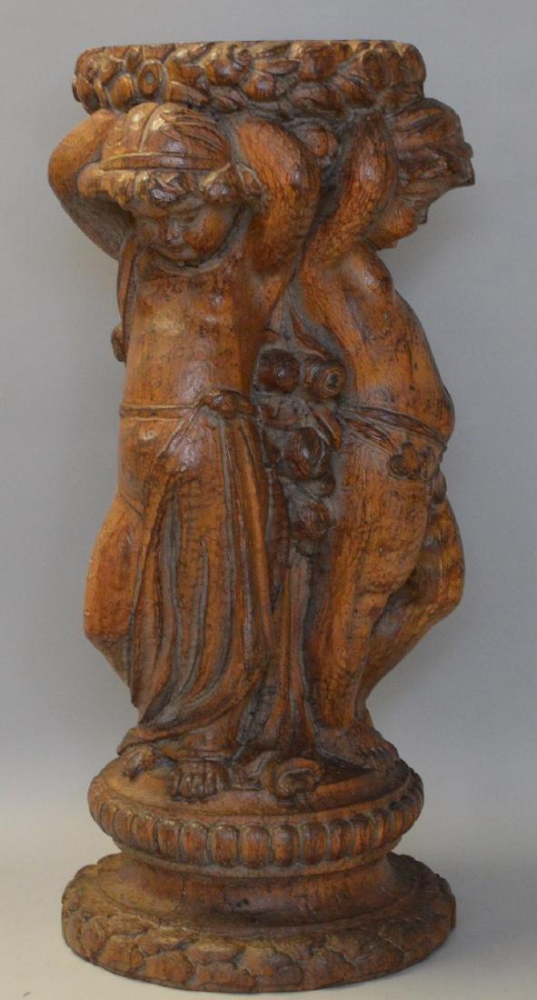 Puttis carved wood pedestal, 18h - 2