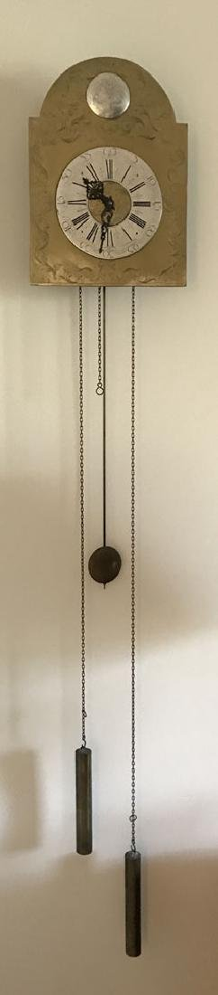Hanging brass and nickel wall clock - 2