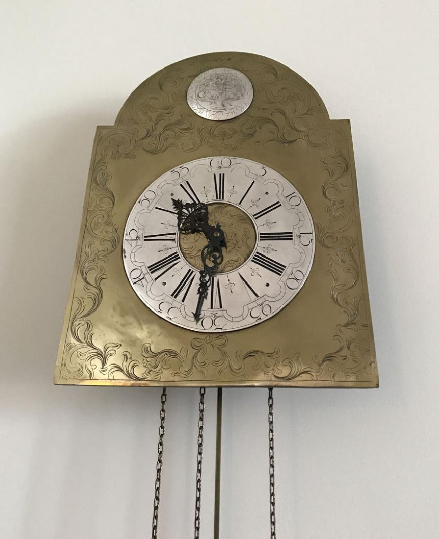 Hanging brass and nickel wall clock - 4
