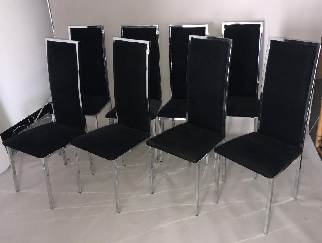 Milo Baughman chrome & glass table with 8 chairs, 28h x