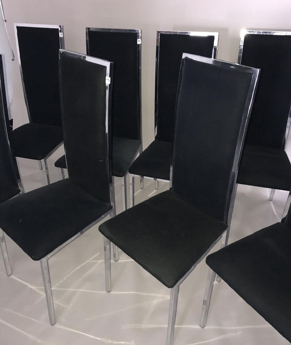 Milo Baughman chrome & glass table with 8 chairs, 28h x - 2