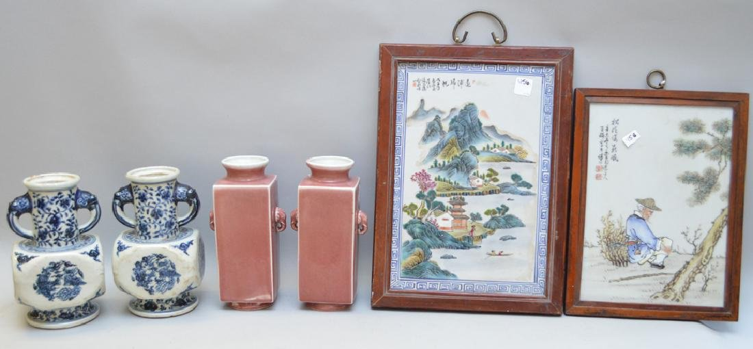 Chinese porcelian wall plaques. Pair of mauve color