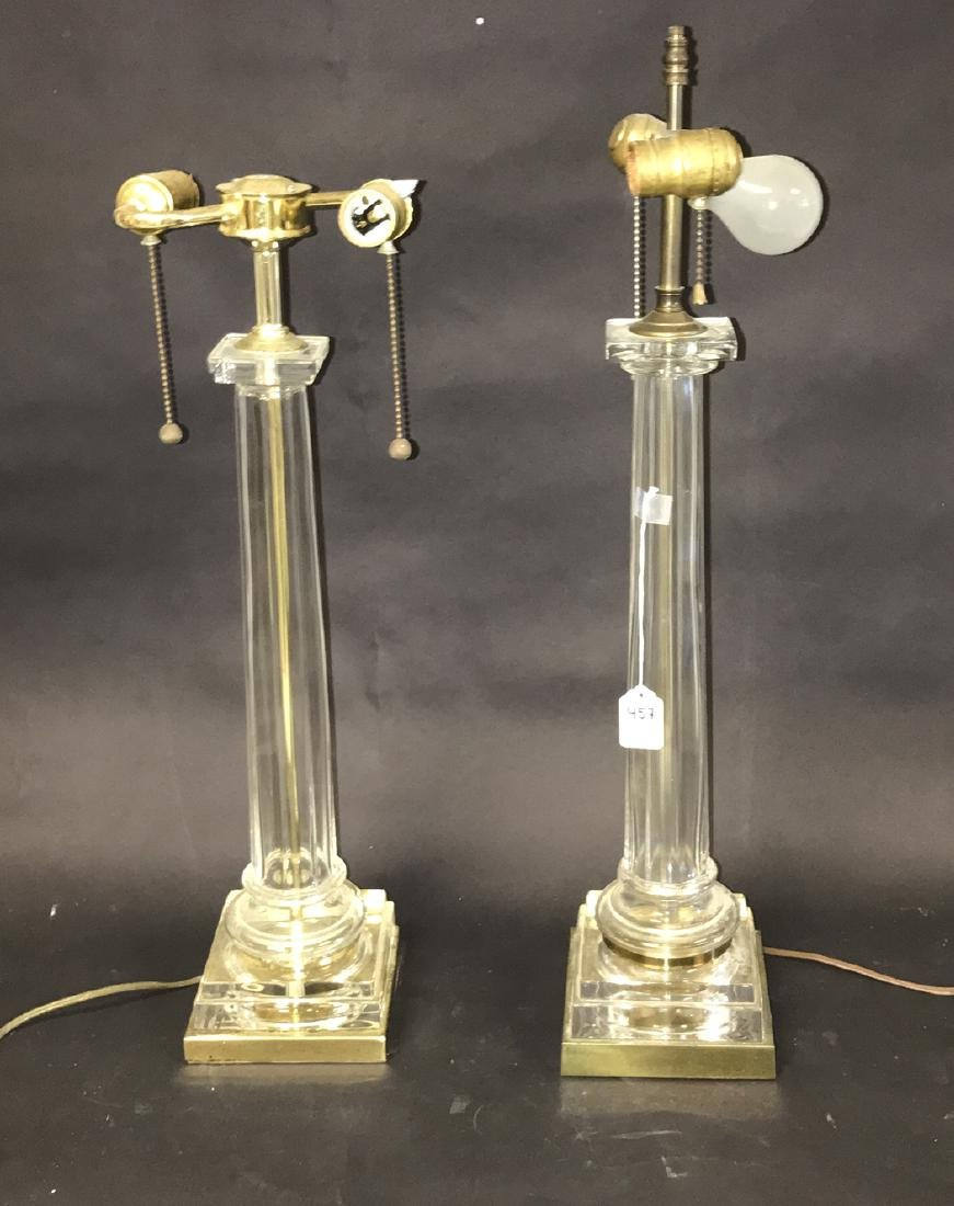 Pair glass & brass column form lamps, 23h to the