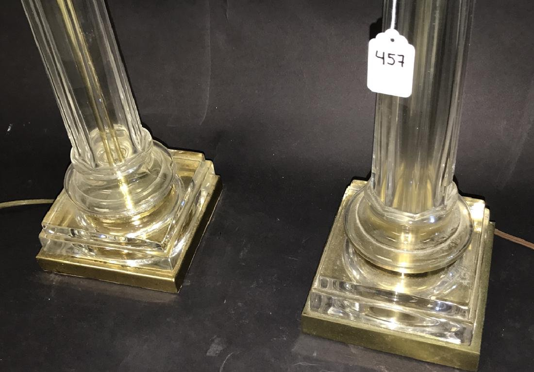 Pair glass & brass column form lamps, 23h to the - 2